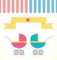 Baby Stroller Boy and Girl vector image vector image
