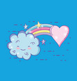 beauty rainbow with fluffy cloud and heart vector image vector image
