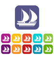 big yacht icons set vector image vector image