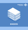 binders icon isometric template for web design vector image vector image