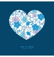 blue and pink kimono blossoms heart vector image vector image