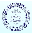 Blue circle christmas background vector image vector image