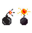 bomb with fire explosive weaponry pixel game vector image