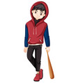 boy teenager with a bat vector image vector image