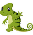 cartoon cute chameleon vector image