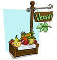 cartoon fruit vendor booth market wooden stand vector image vector image
