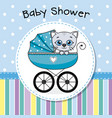 cat inside baby carriage vector image vector image