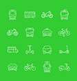 city transport line icons set vector image