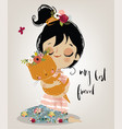 cute summer girl with cat vector image vector image