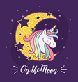 cute unicorn cartoon character design vector image vector image