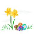 Easter egg with daffodils with grass vector image