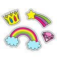 fashion patch badges with crown diamond rainbow vector image