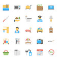 flat icon set hotels and restaurants vector image
