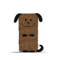 funny dog knitting sketch for your design vector image