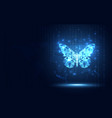 futuristic blue lowpoly butterfly abstract vector image vector image