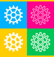 Gear sign four styles of icon on four color
