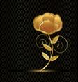 gold flower rose on black background vector image vector image