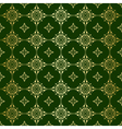 green seamless pattern with golden tracery vector image