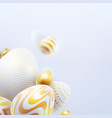 happy easter holiday background with 3d eggs vector image vector image