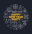 happy new year party outline vector image