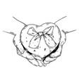 heart shaped box engraving vector image