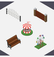 isometric street set of sitting carousel vector image vector image