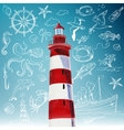 lighthouse and hand-drawn icons of marine theme vector image