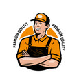 logo service worker in work clothes vector image