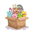 paper box full round stuffed animal toys vector image vector image
