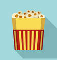 paper popcorn box icon flat style vector image vector image