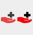 pixelated and flat medical donation hand vector image vector image
