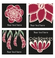 posters with floral elements in tattoo style vector image vector image