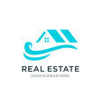 real estate with wave logo vector image vector image