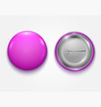 realistic pink blank badge vector image vector image