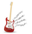 red electric guitar with floating sample note vector image
