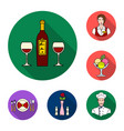 restaurant and bar flat icons in set collection vector image