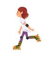 rollerblading teen girl cute child roller skating vector image vector image