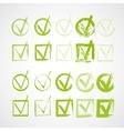set hand-drawn check marks grunge checkmarks vector image