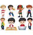 set isolated children doing different vector image