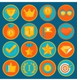 set of 16 flat gamification icons vector image