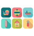 Set of flat summer icons with shadow vector image