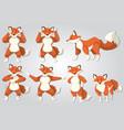 set of fox dance vector image vector image