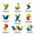 set of letter geometric logo vector image