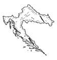 sketch of a map of croatia vector image vector image