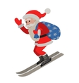 Skiing Santa isolated on white vector image