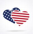 twin hearts usa flag vector image vector image