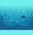 underwater silhouette background undersea coral vector image