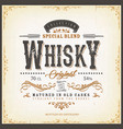 vintage whisky label for bottle vector image