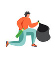 waste collection and street cleaning flat vector image vector image