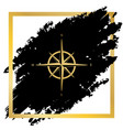 wind rose sign golden icon at black spot vector image vector image